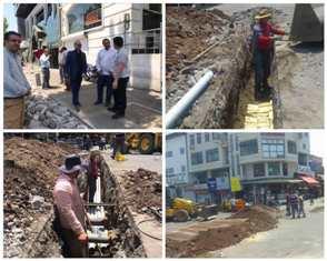 تصاویر اجرای عملیات تعویض کابل برق بازار رشت